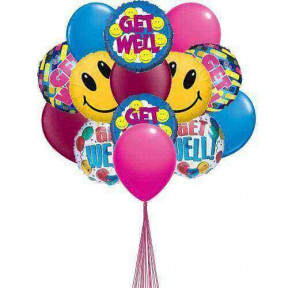 Wishes for Getwell -  balloons (6-Mylar & 6-Latex Balloons)
