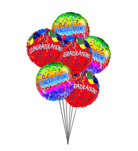 Congratulations with Balloons (4-Mylar & 3-Latex Balloons)