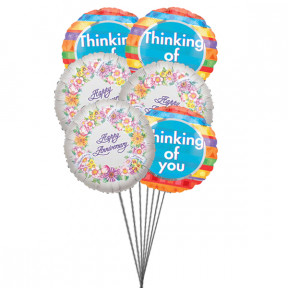 Thinking on Anniversary balloons ( 6 Mylar Balloons)