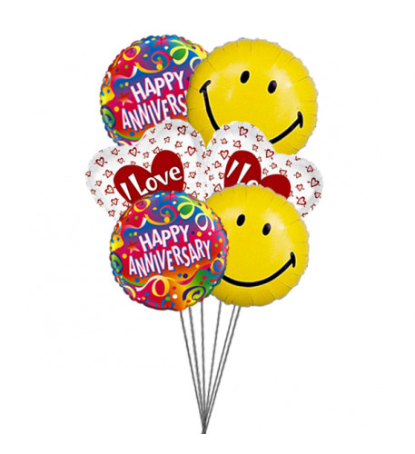 Smiley Anniversary balloons with love (6 Mylar Balloons)