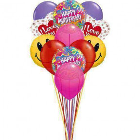 Smiley - Smiley Anniversary balloons with love    (  6-Latex Balloons )