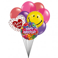 Smiley - Smiley Anniversary balloons with love (6 Latex & 3-Mylar Balloons)