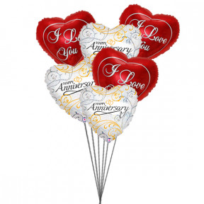 Balloons bouquet of love (3 Latex & 6 Mylar Balloons)