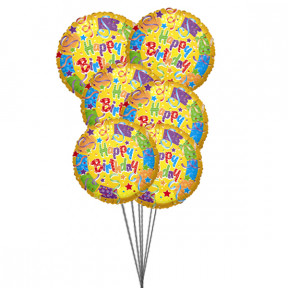 Bouquet of best birthday balloons (6 Mylar Balloons)