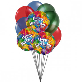 Balloons on Birthday  (3 Latex & 3 Mylar Balloons)