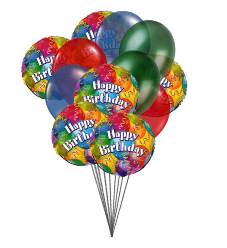 Balloons on Birthday (6 Mylar & 6 Latex Balloons)
