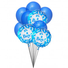 Blue for boys (3 Latex & 3 Mylar Balloons)