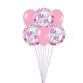 Pink for Girls    (  3 Mylar and 3 Latex Balloons )