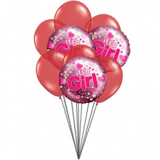 It's a Girl balloons (3 Latex & 3 Mylar Balloons)