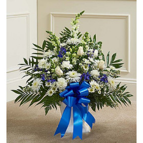 Blue and White Sympathy Floor Basket (Standard)