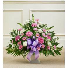 Tribute Lavender & White Floor Basket Arrangement (Small)