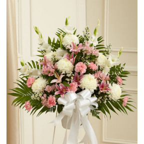 Heartfelt Sympathies Pink & White Standing Basket (Large)