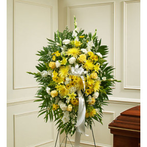 Deepest Sympathies Yellow Standing Spray
