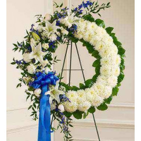 Serene Blessings Standing Wreath-Blue & White