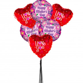 Love U Mom Balloons Bouquet