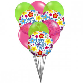 Happy Mother's Day - Balloons bouquet (6-Mylar & 6-Latex Balloons)