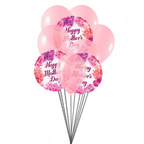 Mother 's Day Wishes Balloons Bouquet (6 Latex & 3-Mylar Balloons)