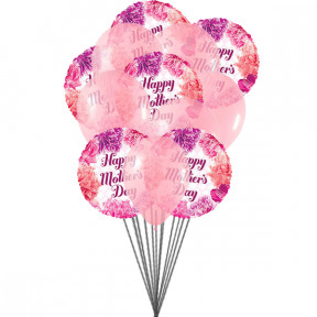 """Mother 's Day Wishes"" Balloons Bouquet (6-Mylar & 6-Latex Balloons)"