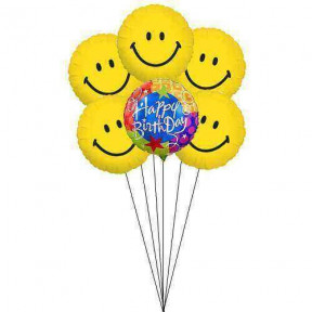 Smiles for B'day celebration (6 Mylar Balloons)