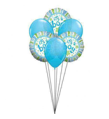 Light Blue Wishes( 3  Mylar &  3 Latex Balloons )
