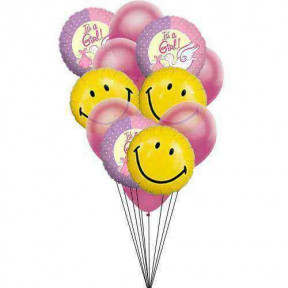Smiley gift for crying baby (6 Mylar & 6 Latex Balloons)