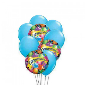 Delightful Congratulation(3 Mylar and 6 Latex Balloons)