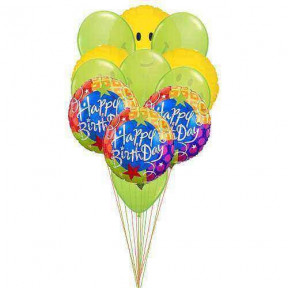 Healthy-happy birthday(6-Mylar & 6-Latex Balloons)