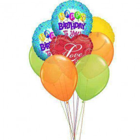 Colors of birthday(4 Latex & 4 Mylar Balloons)