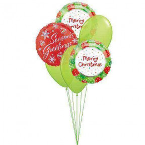 Season Greetings Balloons (3 Latex & 3 Mylar Balloons)