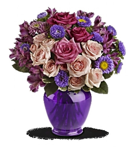 Purple Medley Bouquet with Roses (Standard)