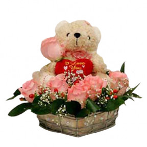 Basket of Pink Flowers with Teddy