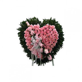 100 Pink Rose Heart Shape Arrangement