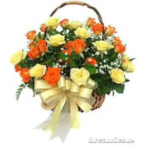 Basket of 20 Organge and Yellow Roses