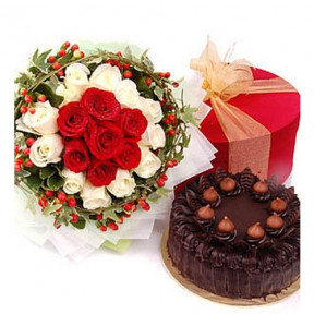 20 Red White Roses and 1 kg Chocolate cake