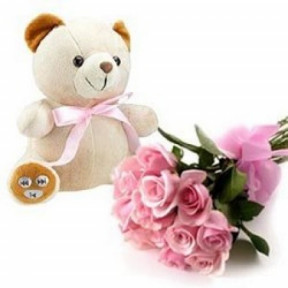 Bunch of 10 Roses and 6 inches Teddy