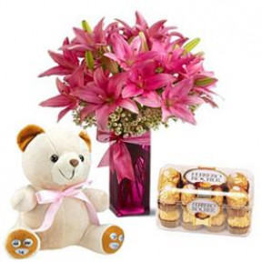 Vase with 10 Pink Lilies, 16 pcs. ferrero Rocher, 6 inches Teddy