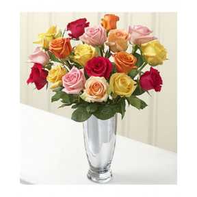 Vase with 20 Mixed Roses