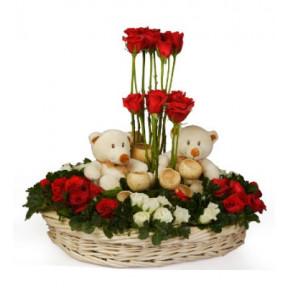 Basket of 50 Red White Roses and 2 Teddies