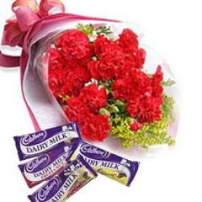 Bunch of 10 Red Carnations & 4 Bars of Cadbury.