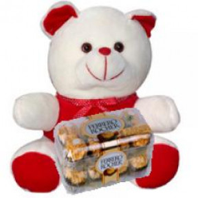 12 Inches Teddy & 16 Pcs Ferrero Rocher Box.