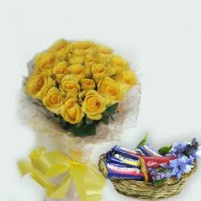 Bunch of 20 Yellow Roses & 10 Bars of Cadbury.