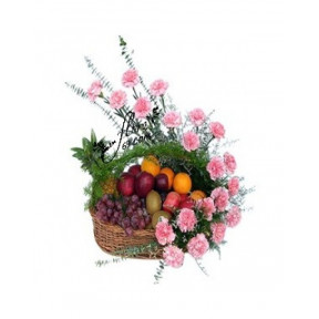 Arrangement of Carnation and Mix Fruits