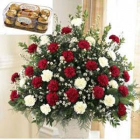 Arrangement of Carnations and Chocolates