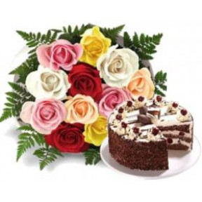 Bunch of 10 mix roses and 500gm black forest cake