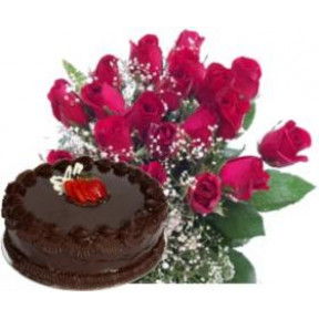 Bunch of 20 red roses and 500gm chocolate cake