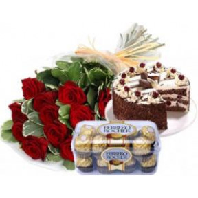 Bunch of 12 Red Roses , 1 Kg Black Forest Cake & 16 pcs Ferrero Rocher Box