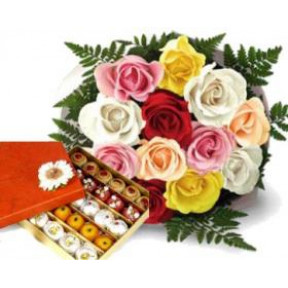 10 Mix Roses & half Kg Assorted Mithai
