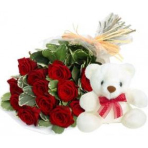 Bunch of 12 Red Roses & 6 Inches Teddy