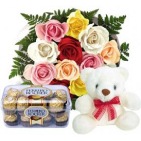 Bunch of 10 Mix Color Roses,16 Pcs Ferrero Rocher Box & 6 Inches teddy