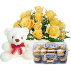 Bunch of 10 Yellow Roses,16 Pcs Ferrero Rocher Box & 6 Inches teddy